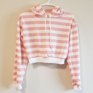 ZAFUL Striped Pink/White Hoodie Crop Top Size S